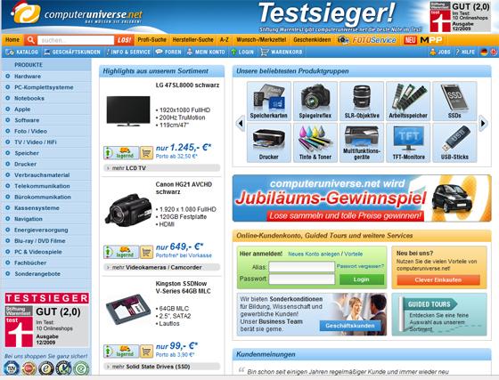 Testsieger bei Stiftung warentest: der Shop computeruniverse.net
